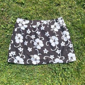 Vintage brown & white hibiscus board wrap skirt